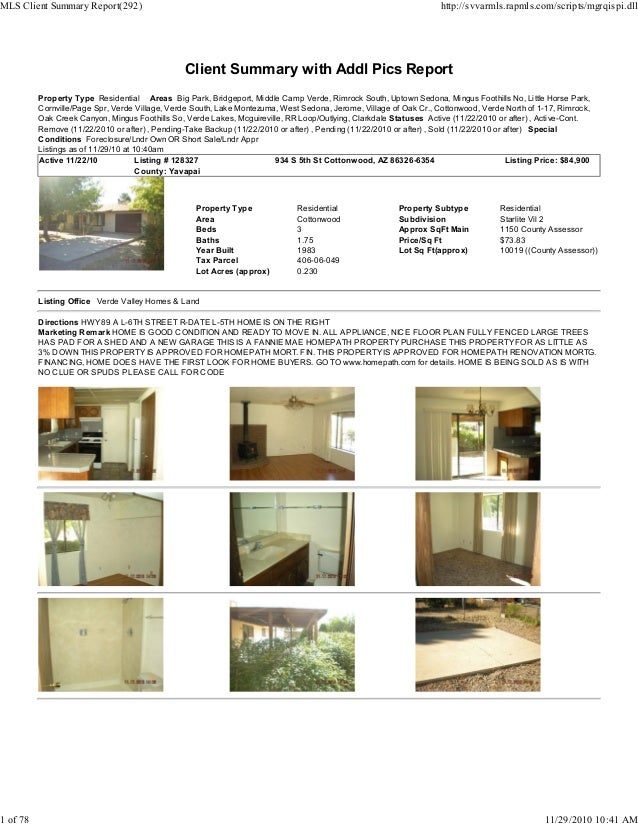 Client Summary with Addl Pics Report Property Type Residential Areas Big Park, Bridgeport, Middle Camp Verde, Rimrock Sout...
