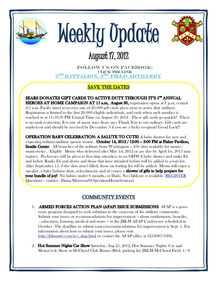 Weekly Update                                      August 17, 2012                               Follow us on FACEBOOK:   ...