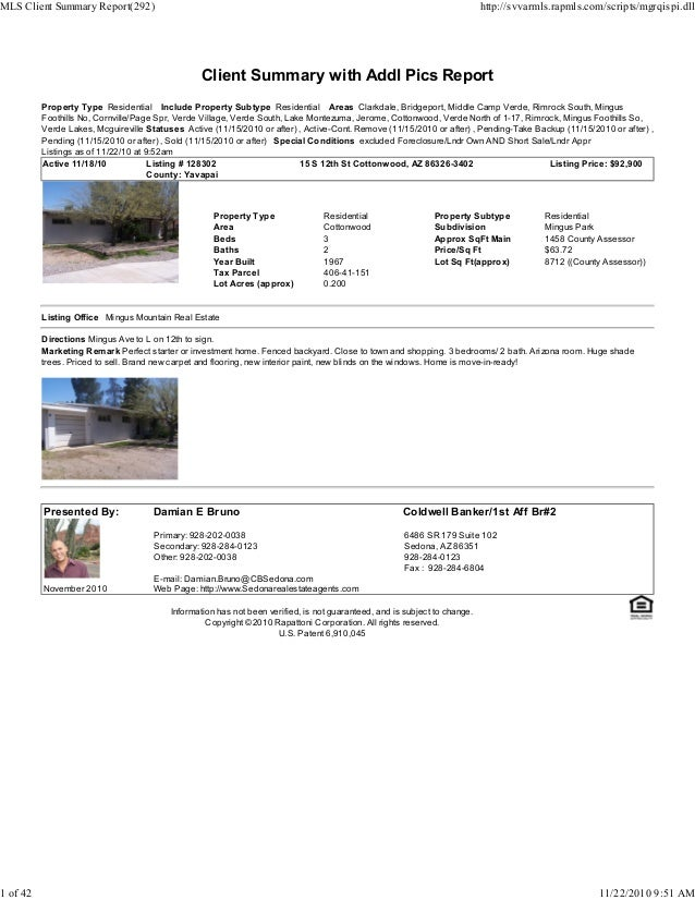 Client Summary with Addl Pics Report Property Type Residential Include Property Subtype Residential Areas Clarkdale, Bridg...