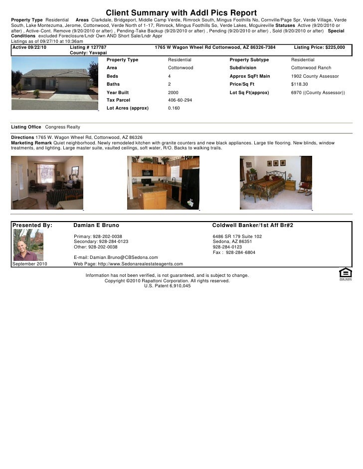 Client Summary with Addl Pics Report Property Type Residential       Areas Clarkdale, Bridgeport, Middle Camp Verde, Rimro...
