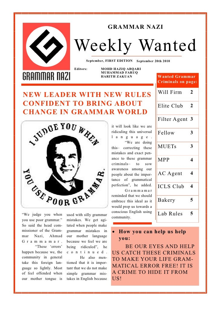 GRAMMAR NAZI                              Weekly Wanted                                     September, FIRST EDITION      ...