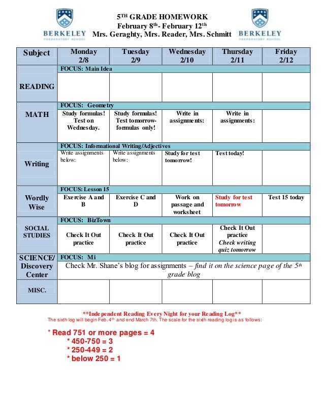 5TH GRADE HOMEWORK February 8th - February 12th Mrs. Geraghty, Mrs. Reader, Mrs. Schmitt Subject Monday 2/8 Tuesday 2/9 We...