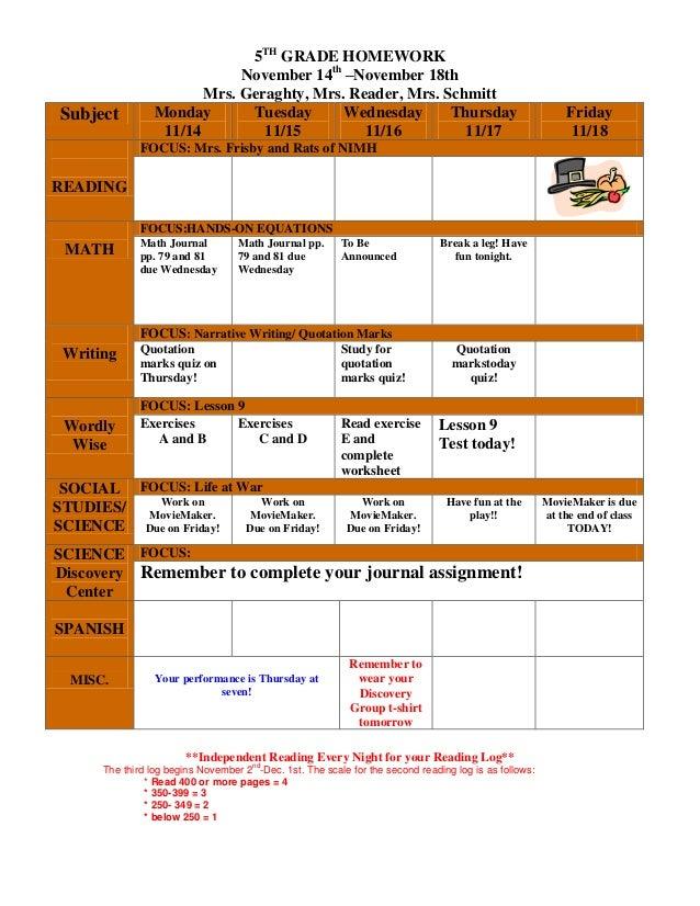 5TH GRADE HOMEWORK November 14th –November 18th Mrs. Geraghty, Mrs. Reader, Mrs. Schmitt Subject Monday 11/14 Tuesday 11/1...
