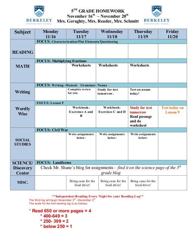 5TH GRADE HOMEWORK November 16th – November 20th Mrs. Geraghty, Mrs. Reader, Mrs. Schmitt Subject Monday 11/16 Tuesday 11/...