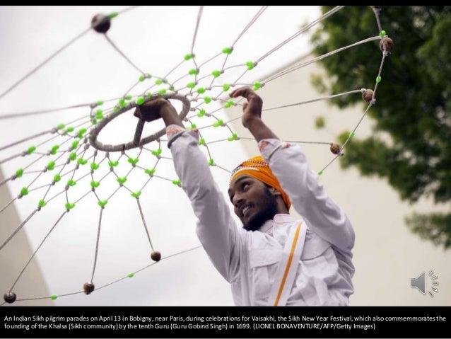 An Indian Sikh pilgrim parades on April 13 in Bobigny, near Paris, during celebrations for Vaisakhi, the Sikh New Year Fes...