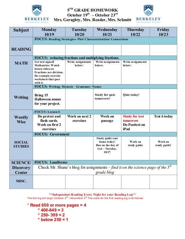 5TH GRADE HOMEWORK October 19th – October 23rd Mrs. Geraghty, Mrs. Reader, Mrs. Schmitt Subject Monday 10/19 Tuesday 10/20...