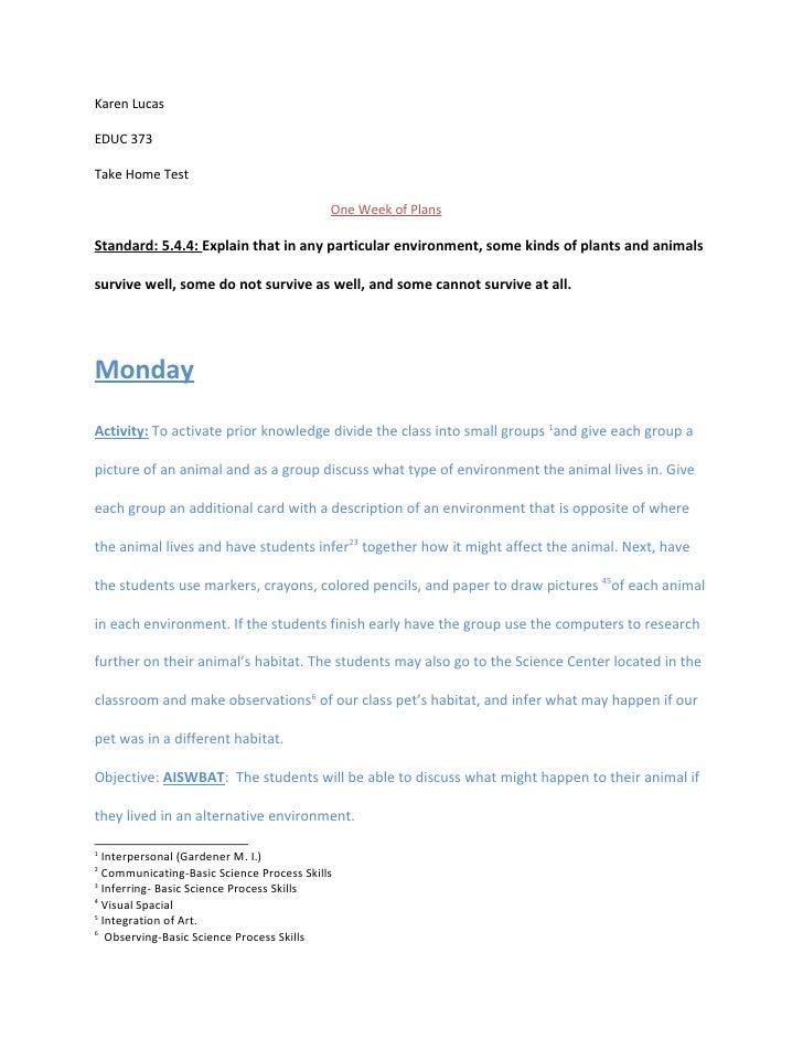 Karen Lucas  EDUC 373  Take Home Test                                             One Week of Plans  Standard: 5.4.4: Expl...