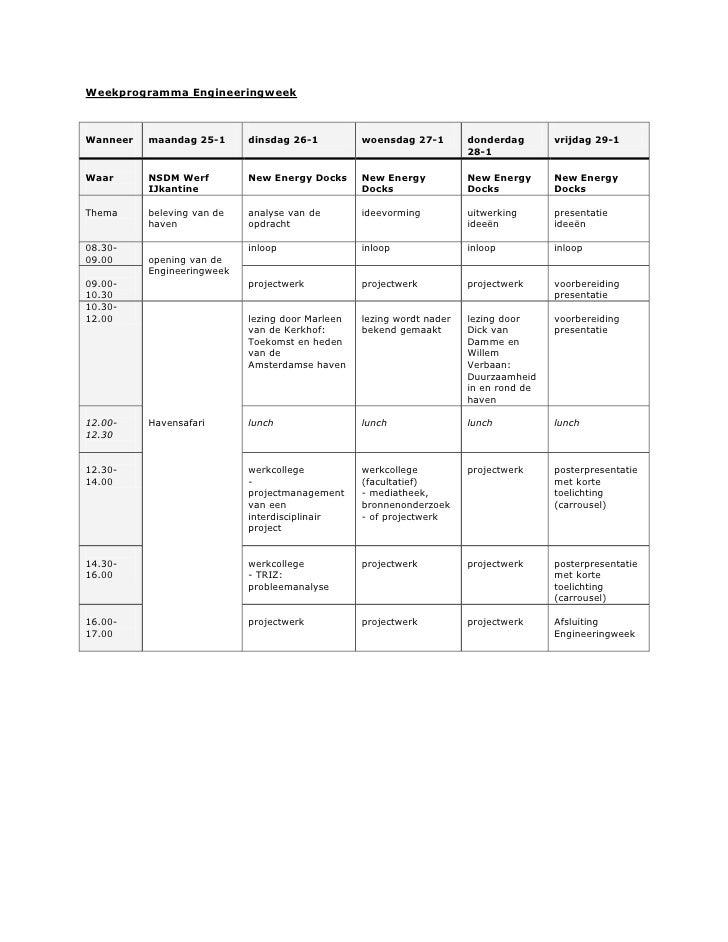 Weekprogramma Engineeringweek    Wanneer   maandag 25-1      dinsdag 26-1          woensdag 27-1        donderdag       vr...