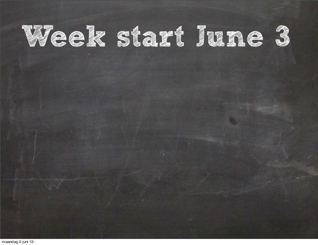 Week startWeek start June 3maandag 3 juni 13