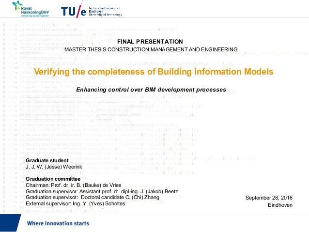 Verifying the completeness of Building Information Models Enhancing control over BIM development processes September 28, 2...