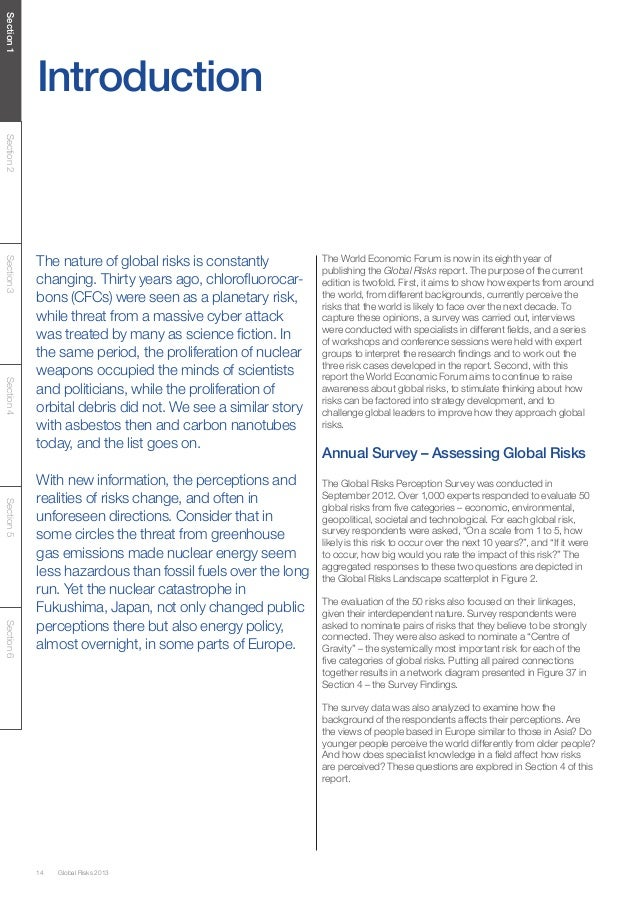 Section 1            IntroductionSection 2            The nature of global risks is constantly         The World Economic ...