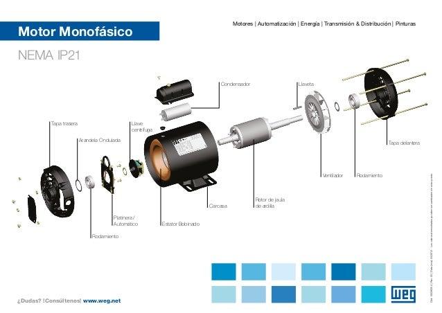 Weg Motor Monofasico Vista Explodida 50036054 Guia Rapido