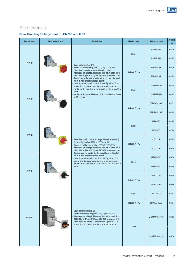 WEG MR-MPW25-330 Handle Accessory Black//RED NEMA 3R 330MM Shaft