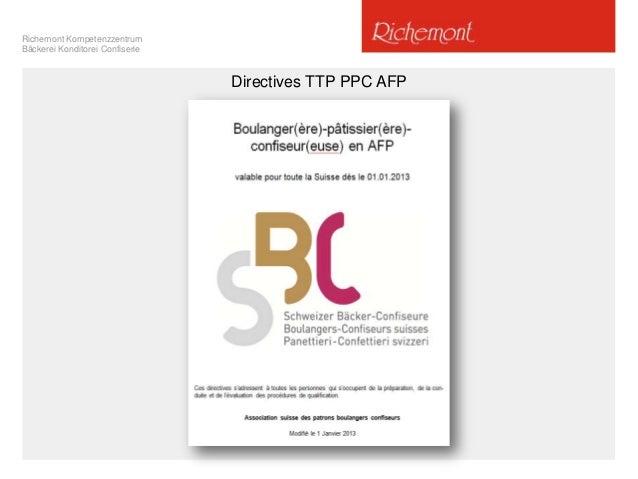 Richemont Kompetenzzentrum Bäckerei Konditorei Confiserie  Directives TTP PPC AFP
