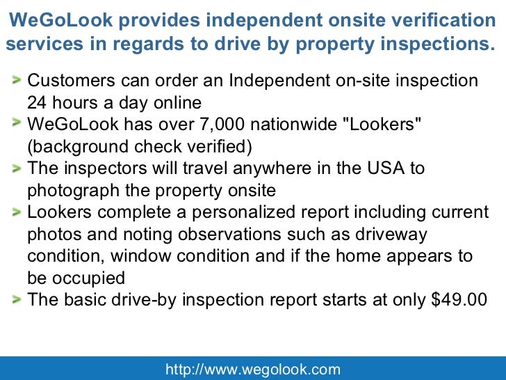 Wegolook Offers Independent Onsite Drive By Property