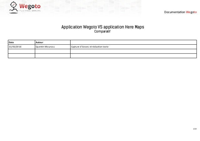 Documentation Wegoto Application Wegoto VS application Here Maps Comparatif Date Auteur 21/05/2016 Quentin Mourcou Capture...