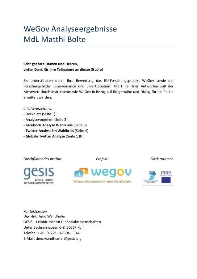 WeGov Analyseergebnisse MdL Matthi Bolte   Sehr geehrte Damen und Herren, vielen Dank für Ih...