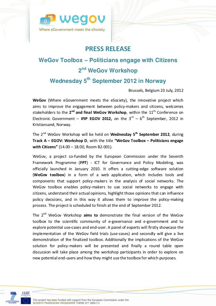 PRESS RELEASE   WeGov Toolbox – Politicians engage with Citizens                          2nd WeGov Workshop         Wedne...