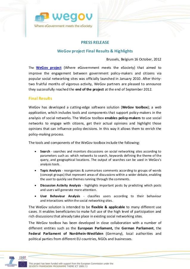 PRESS RELEASE                  WeGov project Final Results & Highlights                                                   ...
