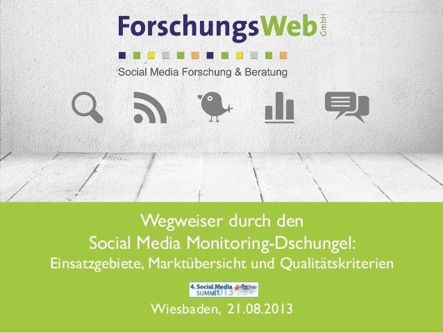 Wegweiser durch den Social Media Monitoring-Dschungel: Einsatzgebiete, Marktübersicht und Qualitätskriterien Wiesbaden, 21...