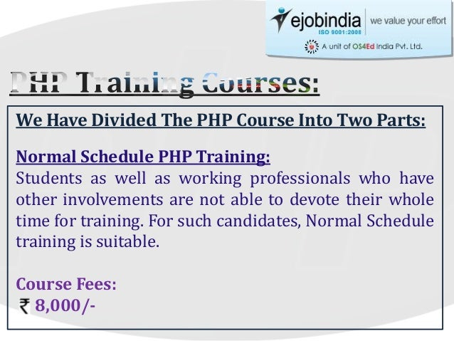 We have divided the php course into two parts