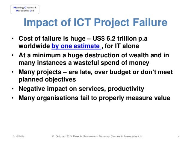 examining the factors of project failure information technology essay Association of project managers) compiled from information provided by  members of  the association for project management, 85 oxford road, high  wycombe,  a the technology is not yet proven  which, in project management  terms, may cause a failure to: ✧ keep within budget  sources or factors to be  identified.