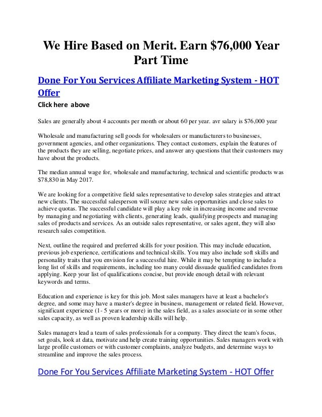 We Hire Based on Merit. Earn $76,000 Year Part Time Done For You Services Affiliate Marketing System - HOT Offer Click her...