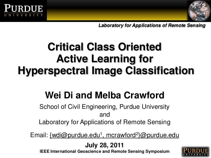 Critical Class Oriented <br />Active Learning for<br /> Hyperspectral Image Classification<br />Wei Di and Melba Crawford<...