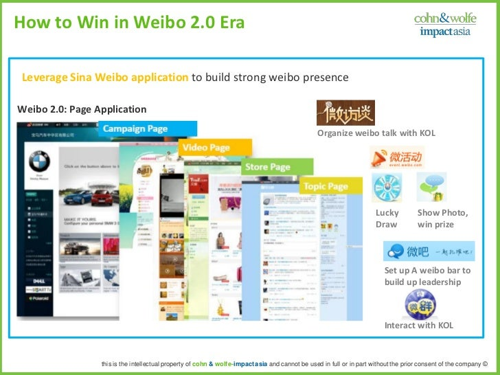 How to Win in Weibo 2.0 EraLeverage Sina Weibo application to build strong weibo presenceWeibo 2.0: Page Application      ...