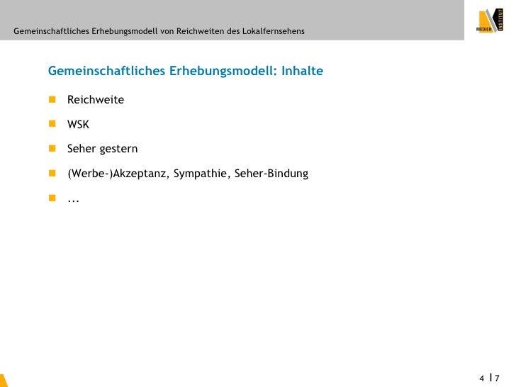 Gemeinschaftliches Erhebungsmodell von Reichweiten des Lokalfernsehens            Gemeinschaftliches Erhebungsmodell: Inha...