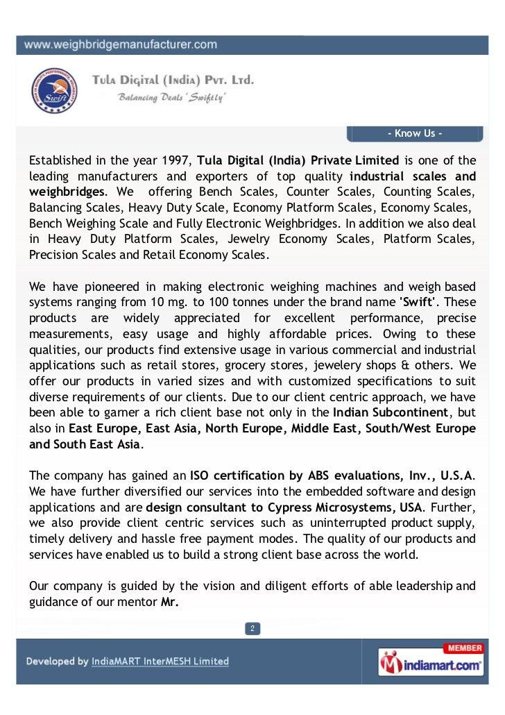 Tula Digital (India) Pvt. Ltd., New Delhi, Scales & Weighbridges Slide 2