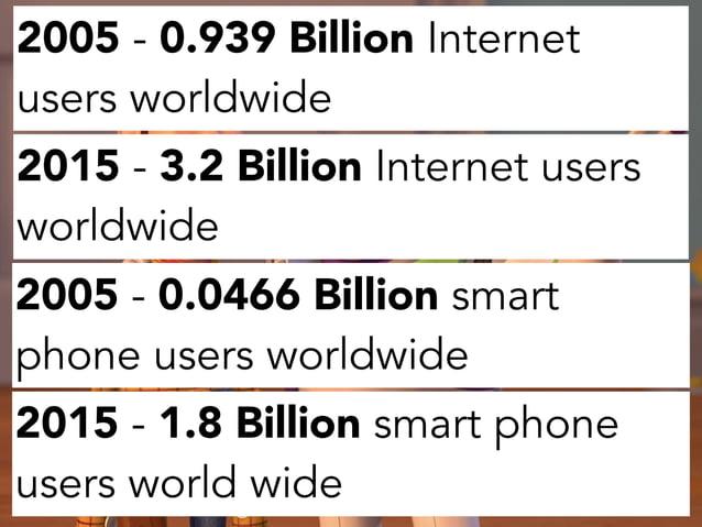 2005 - 0.939 Billion Internet users worldwide 2015 - 3.2 Billion Internet users worldwide 2005 - 0.0466 Billion smart phon...