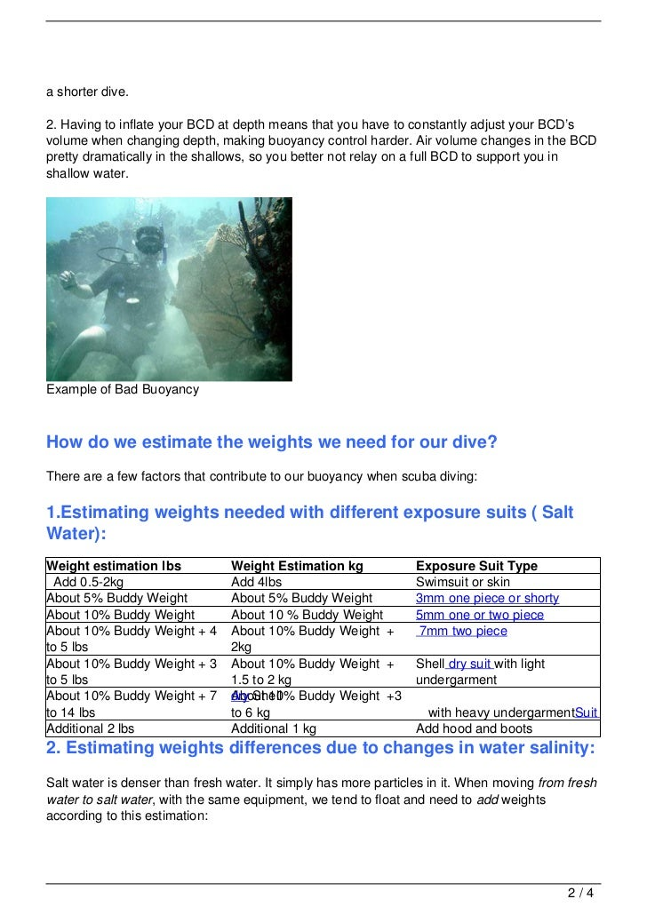 WEIGHT A MINUTE! ESTIMATING WEIGHTS FOR SCUBA DIVING IN A MINUTE
