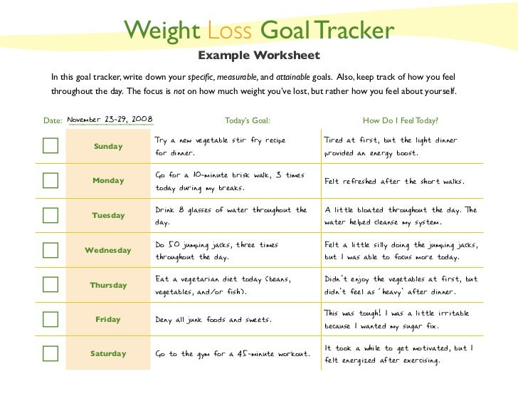 weight loss goals template weight loss goal tracker