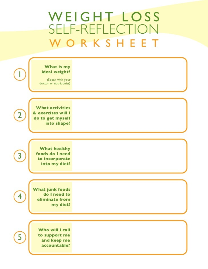 Weight loss self reflection worksheet for Weight loss goals template