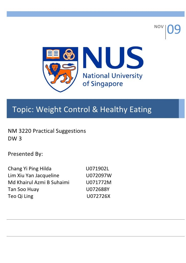 NOV                                                 09      Topic: Weight Control & Healthy Eating  NM 3220 Practical Sugg...