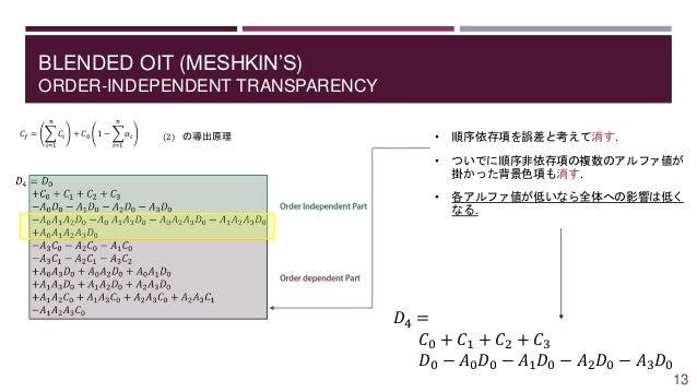 BLENDED OIT (MESHKIN'S) ORDER-INDEPENDENT TRANSPARENCY 𝐶𝑓 = 𝑖=1 𝑛 𝐶𝑖 + 𝐶0 1 − 𝑖=1 𝑛 𝛼𝑖 (2) の導出原理 • 順序依存項を誤差と考えて消す. • ついでに順...