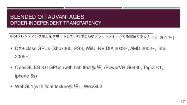 BLENDED OIT ADVANTAGES ORDER-INDEPENDENT TRANSPARENCY 17  DX11-class GPUs (PS4, XboxOne, NVIDIA 2010~ , AMD 2009~, Intel ...