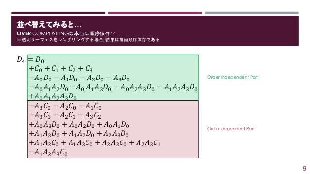 並べ替えてみると… OVER COMPOSITINGは本当に順序依存? 半透明サーフェスをレンダリングする場合, 結果は描画順序依存である 𝐷4 = 𝐷0 +𝐶0 + 𝐶1 + 𝐶2 + 𝐶3 −𝐴0 𝐷0 − 𝐴1 𝐷0 − 𝐴2 𝐷0 − ...