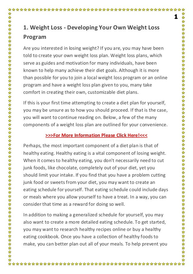 Weight Loss Developing Your Own Weight Loss Program