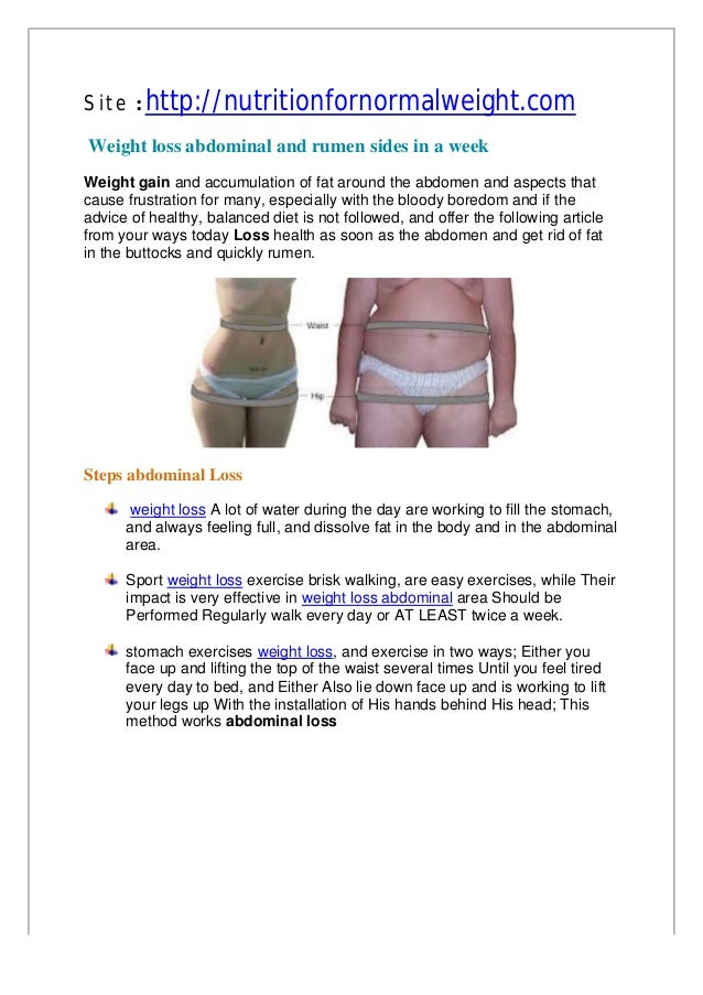 Weight loss abdominal and rumen sides in a week