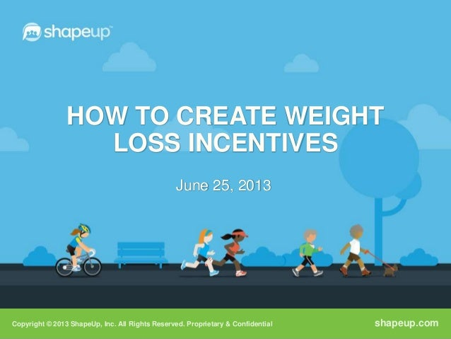 Copyright © 2013 ShapeUp, Inc. All Rights Reserved. Proprietary & Confidential shapeup.comHOW TO CREATE WEIGHTLOSS INCENTI...