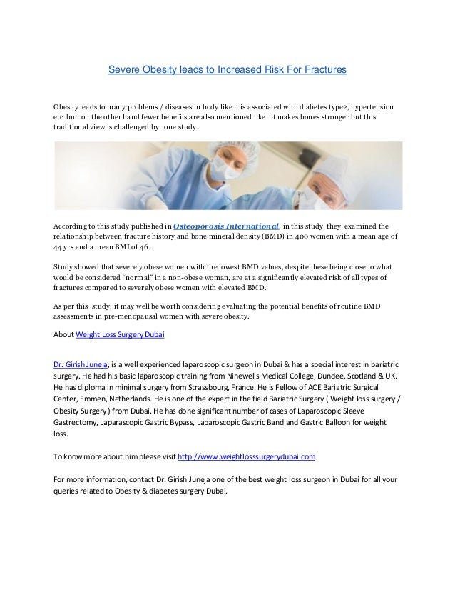 Weight Loss Surgery Dubai Severe Obesity Leads To Increased Risk For