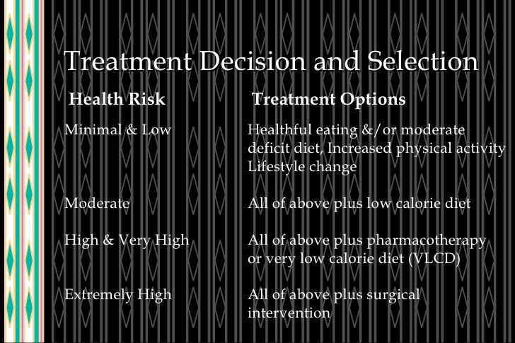 Treatment Decision and Selection Health Risk Treatment Options Minimal & Low Healthful eating &/or moderate  deficit diet,...