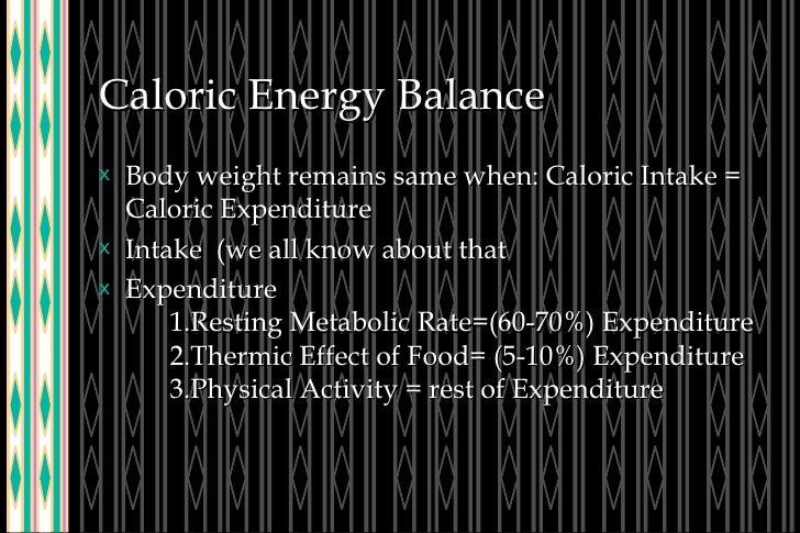 Caloric Energy Balance <ul><li>Body weight remains same when: Caloric Intake = Caloric Expenditure </li></ul><ul><li>Intak...