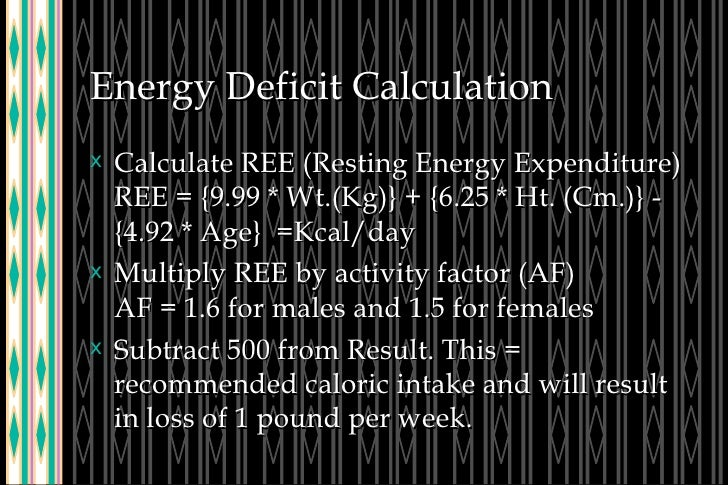 Energy Deficit Calculation <ul><li>Calculate REE (Resting Energy Expenditure) REE = {9.99 * Wt.(Kg)} + {6.25 * Ht. (Cm.)} ...