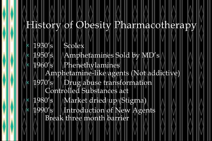 History of Obesity Pharmacotherapy <ul><li>1930's Scolex </li></ul><ul><li>1950's Amphetamines Sold by MD's  </li></ul><ul...