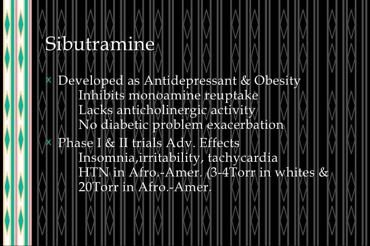 Sibutramine <ul><li>Developed as Antidepressant & Obesity Inhibits monoamine reuptake Lacks anticholinergic activity No di...