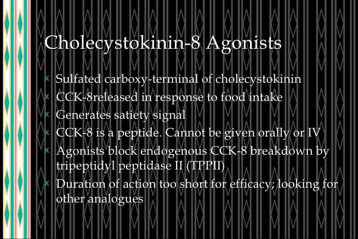 Cholecystokinin-8 Agonists <ul><li>Sulfated carboxy-terminal of cholecystokinin </li></ul><ul><li>CCK-8released in respons...