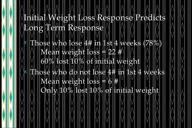 Initial Weight Loss Response Predicts Long Term Response <ul><li>Those who lose 4# in 1st 4 weeks (78%) Mean weight loss =...